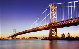 Preview wallpaper Philadelphia, Delaware river, Benjamin Franklin Bridge, USA, night, lights
