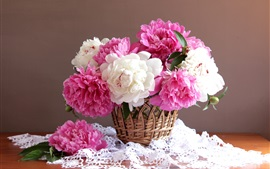 Preview wallpaper Pink and white peonies, basket