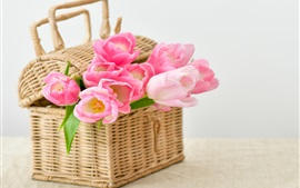 Preview wallpaper Pink tulips, basket
