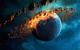 Preview wallpaper Planet destruction, meteor belt, space