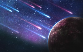 Preview wallpaper Planet, meteor shower, galaxy, starry