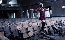 Purple skirt Asian girl, balance, broken chairs