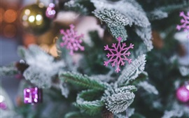 Preview wallpaper Purple snowflake decoration, spruce, Christmas theme
