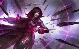 Muchacha de la fantasía del estilo púrpura, espadas de piedra, magia