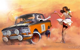 Rally, car and girl, art painting