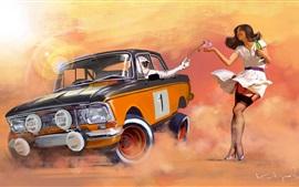 Rally, carro e menina, pintura de arte