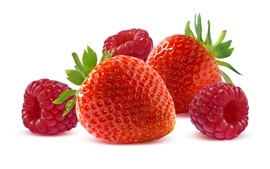 Raspberry and strawberry, white background