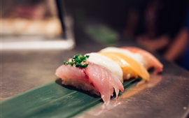 Preview wallpaper Raw fish piece, sushi, Japanese cuisine