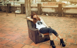 Preview wallpaper Red hair Asian girl sleep on sofa