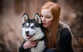 Preview wallpaper Red hair girl and husky