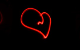 Red lines love heart, black background
