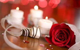 Preview wallpaper Red rose, candy, candle