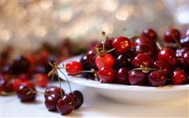 Спелая вишня, фрукты, боке