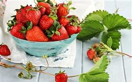 Preview wallpaper Ripe strawberry, fresh fruit, bowl, green leaves