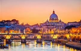 壁紙のプレビュー ローマ、イタリア、橋、川、都市、夕暮れ、ライト、建物