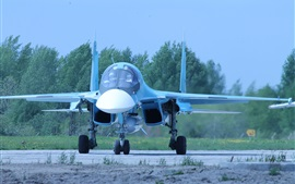 Preview wallpaper Russian bomber, Su-34 fighter front view