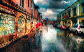 Preview wallpaper Saint Petersburg, girl, umbrella, rainy day, dream style