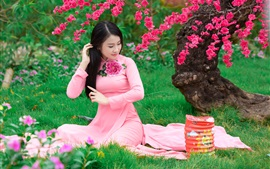 Preview wallpaper Sakura flowering, beautiful chinese girl, pink dress