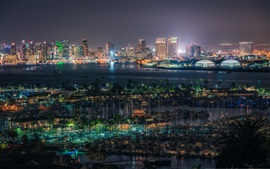 Preview wallpaper San Diego, United States, docker, buildings, lights, night, bay