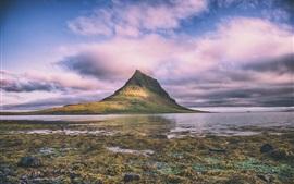 Sea, coast, moss, mountains, clouds, nature landscape