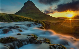 Mar, montanha, raios solares, cachoeira, madrugada, pedras