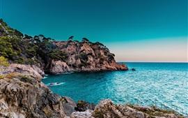 Preview wallpaper Sea, shore, rocks, trees, cliffs, dusk