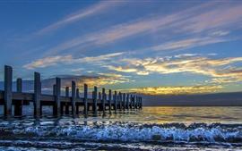 Sea, waves, bridge, pier, sky, clouds
