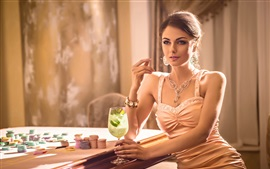 Preview wallpaper Sexy woman, drinks, chips, casino