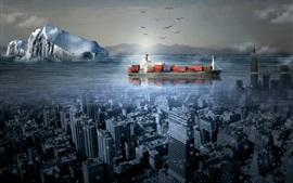 Ship, city, sea, creative picture