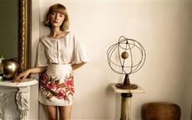 Short hair, blonde girl, summer dress, room