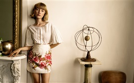 Preview wallpaper Short hair, blonde girl, summer dress, room