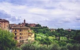 Siena, Italia, ciudad, árboles, edificios