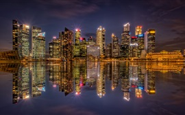 Singapore, bay, skyscrapers, night, lights, water reflection