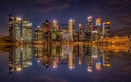 Сингапур, бухта, небоскребы, ночь, огни, отражение воды