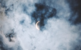 Preview wallpaper Sky, clouds, eclipse, sun and moon