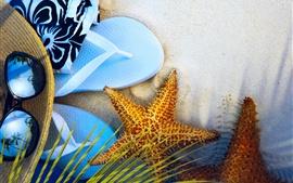 预览壁纸 拖鞋,海星,帽子,太阳镜,沙滩,夏天