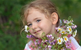 Smile child girl, flowers