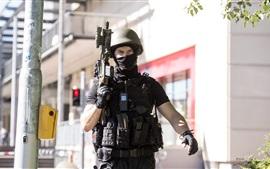 Soldado, uniforme, militar, rifle de assalto