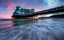 Somerset, Grand Pier, England, sea, clouds, dusk