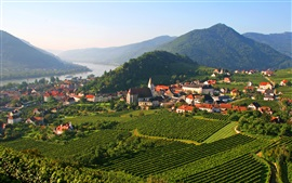Preview wallpaper Spitz, Austria, plantation, field, mountains, trees, river, houses