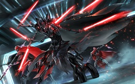 Preview wallpaper Star Wars, art drawing, fight, light sword