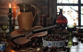 Preview wallpaper Still life, bottle, books, spoon, violin, candle, cherry