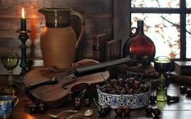 壁紙のプレビュー 静物、瓶、本、スプーン、バイオリン、キャンドル、チェリー