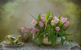 Preview wallpaper Still life, pink tulips, gift, cup
