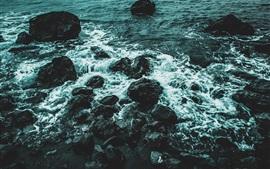 Piedras, mar, olas, anochecer