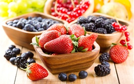 Preview wallpaper Strawberries, blueberries, blackberries, fresh fruit