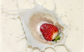 Preview wallpaper Strawberry down in milk, splash