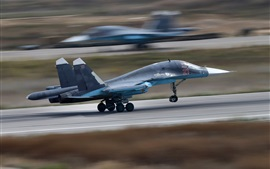 Preview wallpaper Su-34 bomber take off, speed