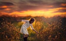 Preview wallpaper Summer, child, girl, grass, sunset