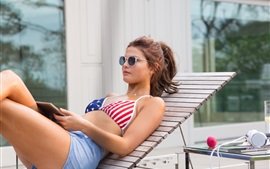 Preview wallpaper Summer girl, bra, sexy, chaise, sunglass